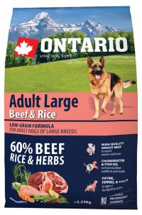 Сухой корм Ontario Adult Large Beef & Turkey, для собак крупных пород с говядиной и рисом